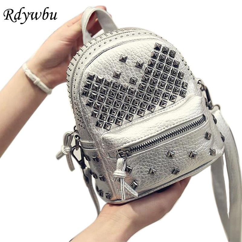 цены Rdywbu Fashion Women's Waterproof PU Leather Rivet Backpack Teenager Girl Studded School Bag Zipper Bolsas Mochila Feminina B137