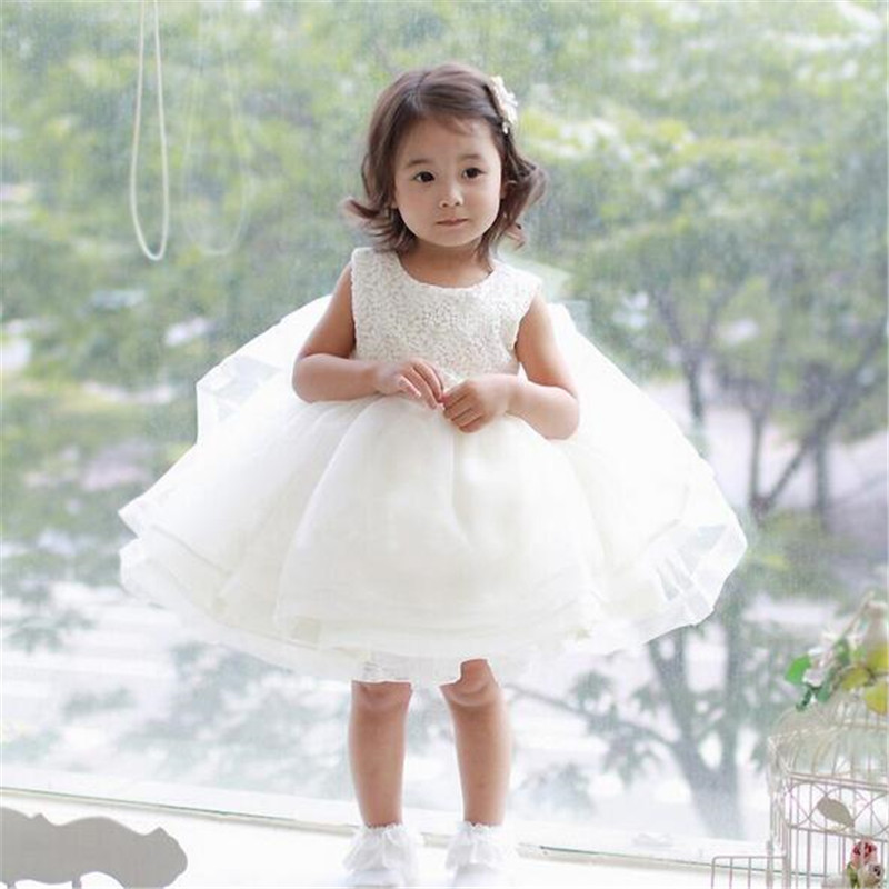 2016 Summer white lace flower Princess dress Baby Girl Wedding and Birthday Party dress children
