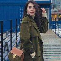 stars loves women winter double wool cashmere gown coat army green female long baggy lady double breasted belt tall outwears 006