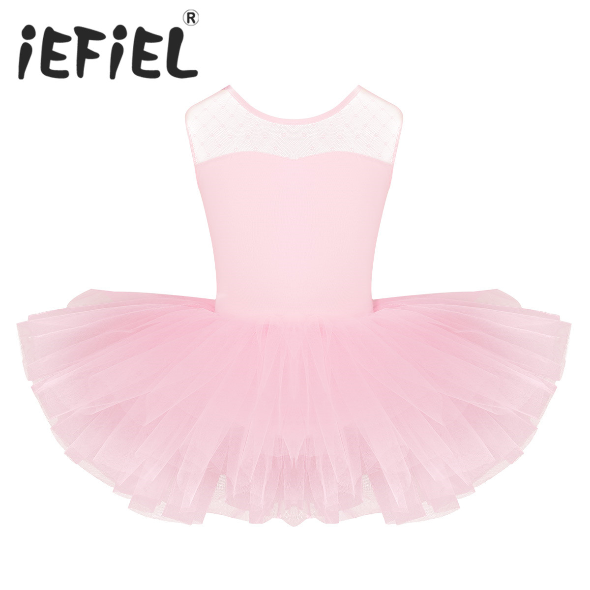 Cute Children Kids Girls Short Sleeves Stretch Mesh Splice U-shaped Back Ballet Dance Gymnastics Leotard Tutu Performance Dress