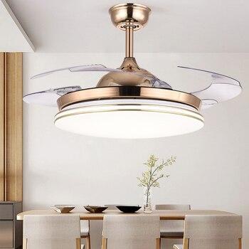 Ceiling fan light invisible LED restaurant fan light living room bedroom home simple modern electric fan