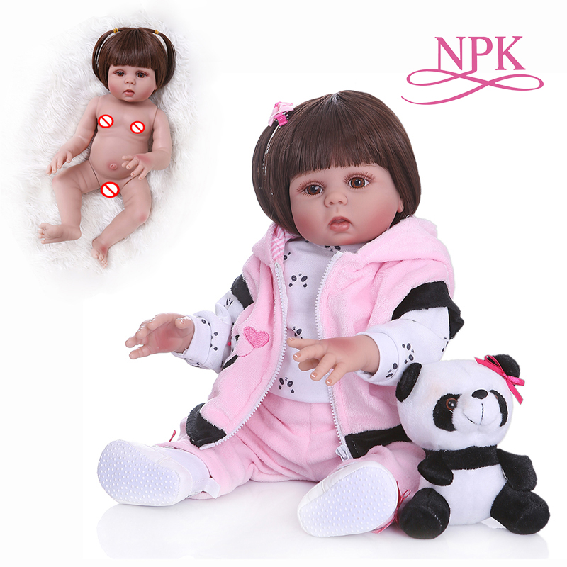 NPK48CM bebe doll reborn toddler girl princess doll in panda dress full body silicone baby smooth