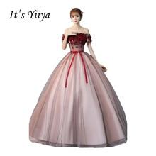 It's Yiiya Off Shoulder Bow Wedding Dresses Wine Red Ball Gown Floor Length Color Bridal Frocks Vestidos De Novia CasamentoHL014
