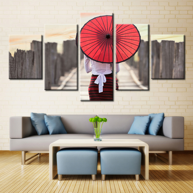 5PCS/set Unframed Japanese Umbrella Wall Art for Bathroom ...