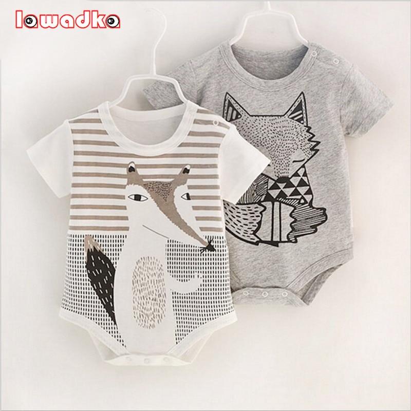 100%Cotton Short Sleeve Baby Rompers Print Newborn Infant Clothing Toddler Boy Girls Jumpsuits Bebe Roupas