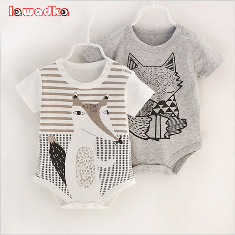 100 Cotton Short Sleeve Baby Rompers Print Newborn Infant Clothing Toddler Boy Girls Jumpsuits Bebe Roupas
