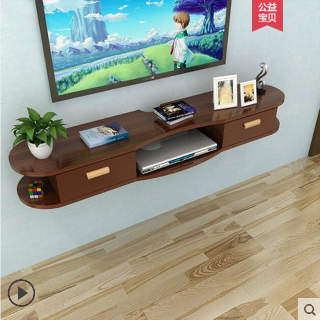 Wall shelf living room film and television background wall creative lattice room wall without perforation wall hanging cabinet d in Storage Holders Racks from Home Garden