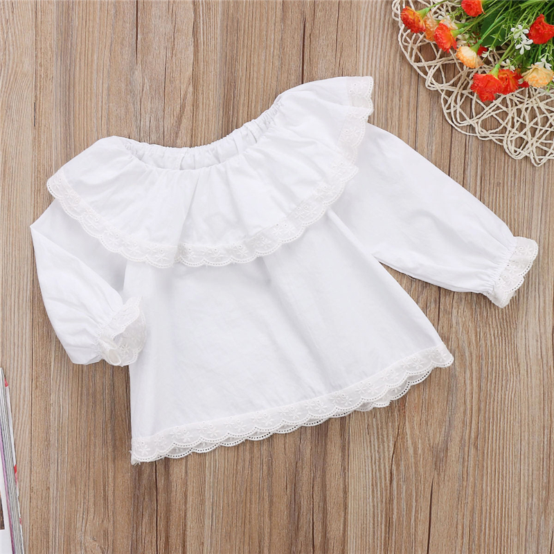 04a411b8addb Baby Girls White Lace T-shirt Newborn Long Sleeve Off Shoulder Tops Tee  2018 New Year's T-shirt For Girls Hot Baby Girl Clothing