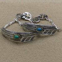 Plata tailandesa nacional pareja primera joyería 925 mano de plata turquesa Plumas pulsera brazalete