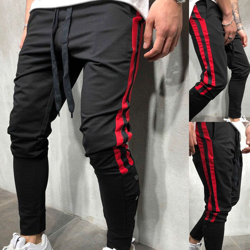 Side Striped Pencils Pants Men Hip Hop Sweatpants Fashion Streetwear Joggers Brand Male Trousers Causal Slim Fit Black Harem