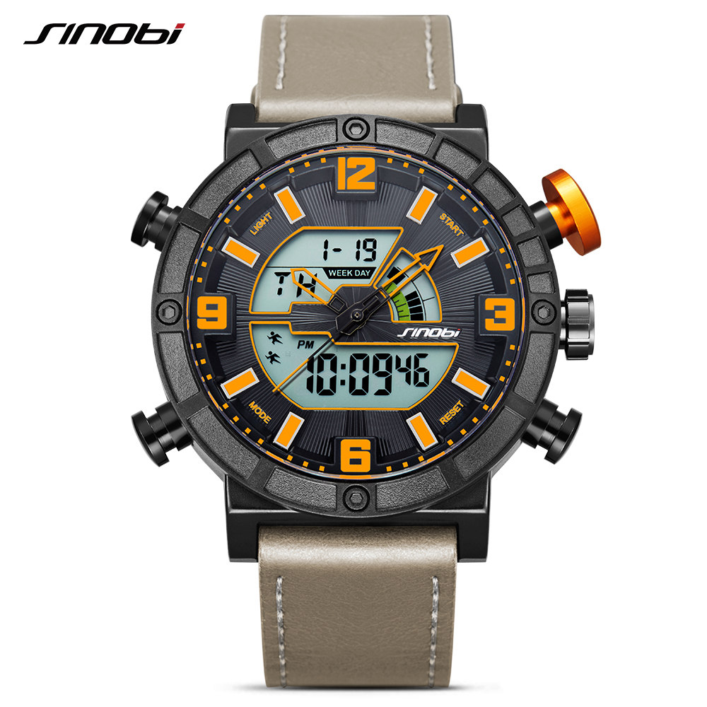 SINOBI Fashion Top Luxury Brand Men Waterproof Military Sport Watches Men's Quartz Digital Leather Wrist Watch relogio masculino xinge top brand luxury leather strap military watches male sport clock business 2017 quartz men fashion wrist watches xg1080