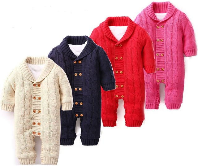 newborn baby clothes Winter Warm Baby Romper cotton knitted baby boys clothing baby girls clothes set  3 color