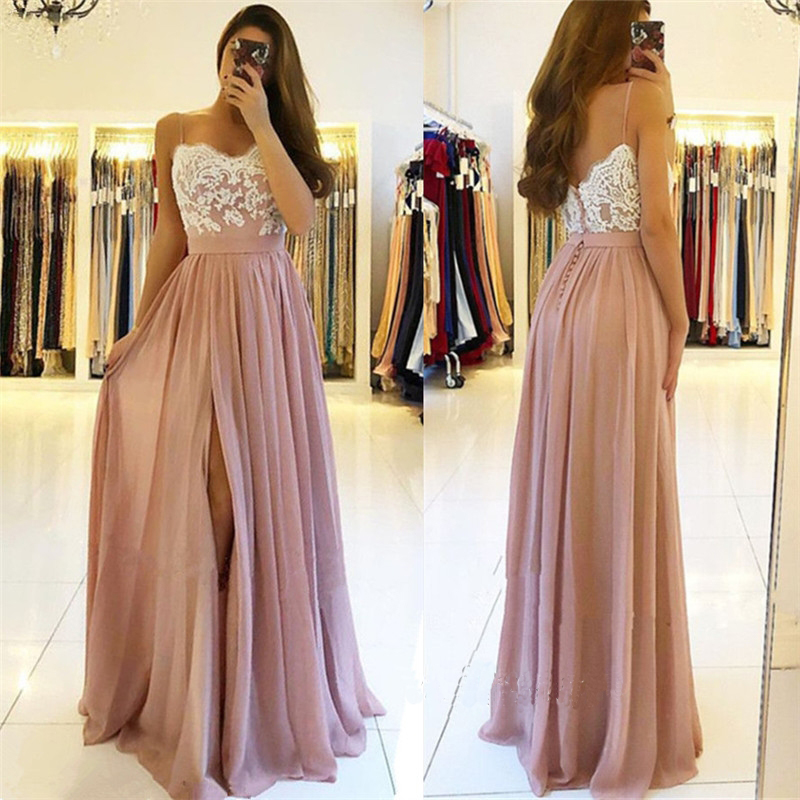 New Fashion Prom Dresses 2019 Sweetheart Neck Spaghetti Strap Floor Length Appliques Chiffon Evening Dress Party Gowns