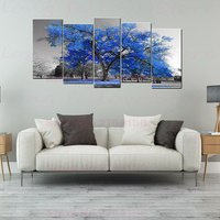 Large Poster Blue Trees Giclee Canvas Prints Abstract Landscape Picture for Bathroom Office Home Decor Drop Shipping