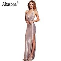 Abasona Evening Party Sequins Dress Women Spaghetti Strap Elegant Long Maxi Dress High Split Sleeveless Women