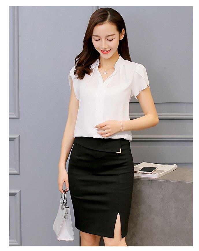 2018 más tamaño S 8XL mujeres blusas mujeres Camisa De manga corta Bodycon Casual Blousas gasa Tops Camisa Mujer De Moda