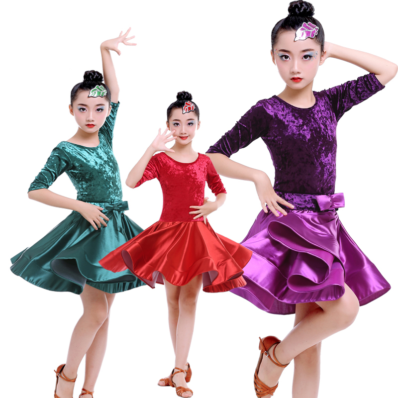 2018 New Latin Dance Dress For Girls Mid Sleeve Round Neck Ballroom Dancing Dresses For Kids Performance Practice Wear DN1099