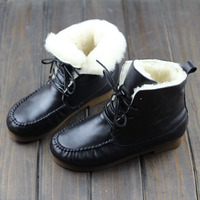 Boots Women Shoes 100% Genuine Leather Ladies Ankle Boots Round toe Lace up Women's Winter Botos with/without Wool (W1688 5)