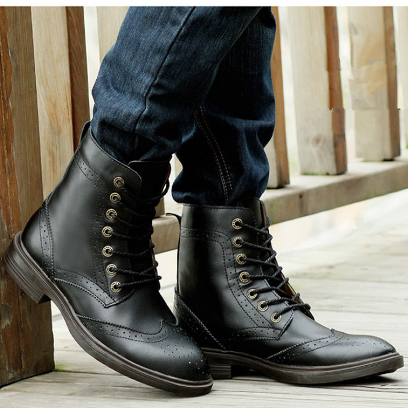38 48 Genuine Leather Boots Men Winter Boots Men Ankle Boots Soft ...
