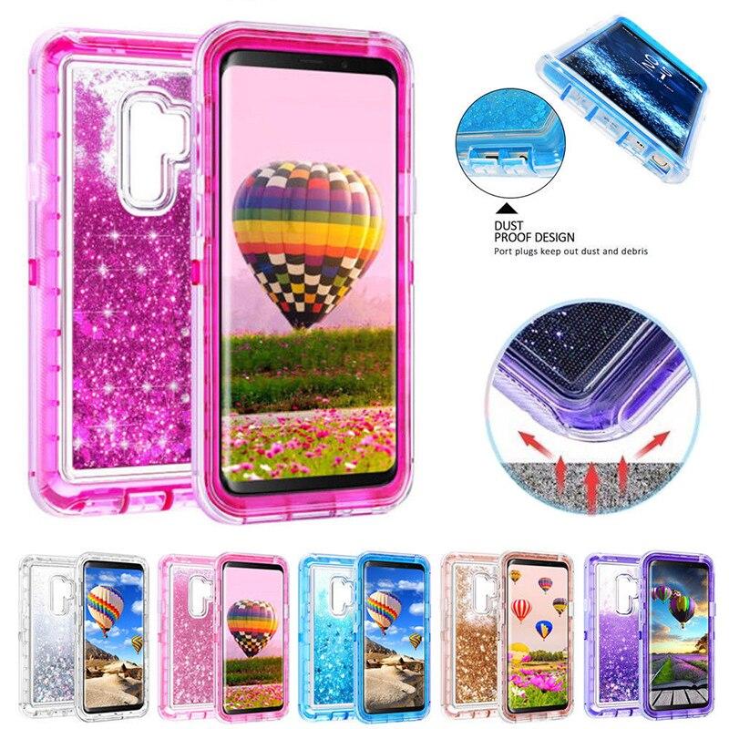 ProElite Bling Flüssigkeit Glitter Funkelnden Fall für Samsung S9 S8 Plus S7 Rand Hinweis 8 Weiche TPU Harte PC Stoßfest 360 voll Shell