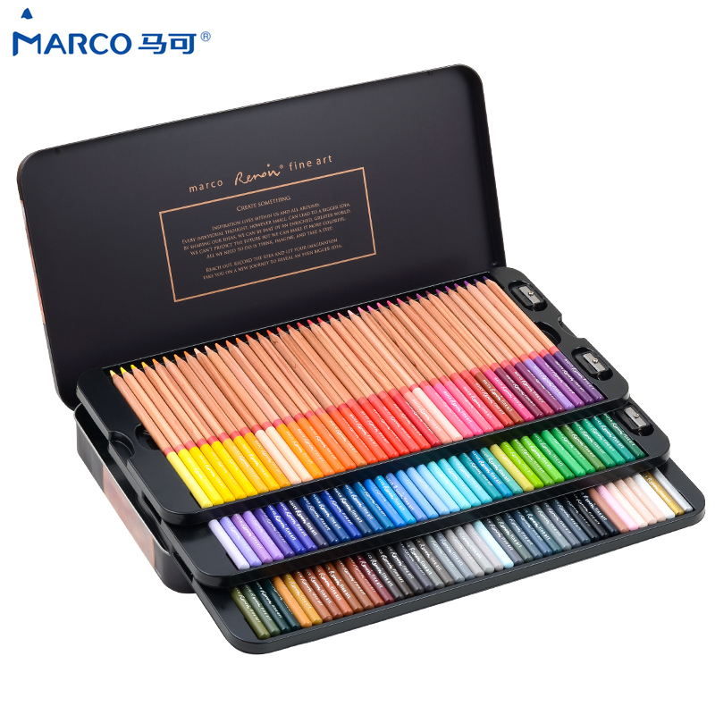 Marco Reffine 24/36/48Colors Oil Color Pencil Prismacolor Wood Colored Pencils For Artist Sketch Drawing School Office Supplies