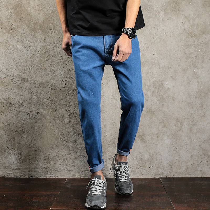 Summer Style Men Jeans Pants Black Blue Ankle Length Denim Jeans Pant Male Korean Fashion Biker Jeans Men Hip Hop Boys Clothing