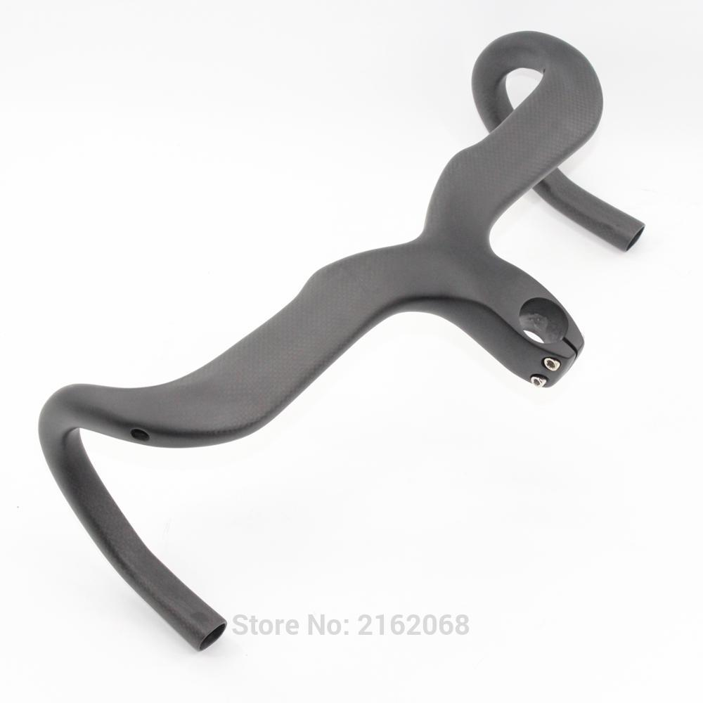 Newest Road bike matt 3K full carbon fibre bicycle handlebar stem integrated with computer stent hole