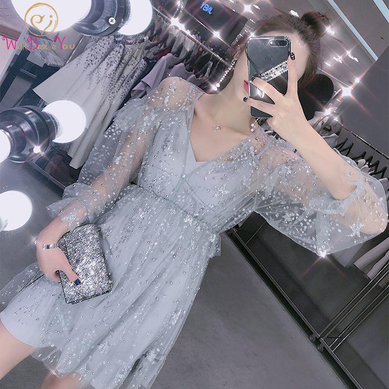Short Prom Dresses Walk Beside You Gray Bling Gown Long Sleeve V-neck Formal Sequined Evening Gowns Vestido De Festa Largo 2019