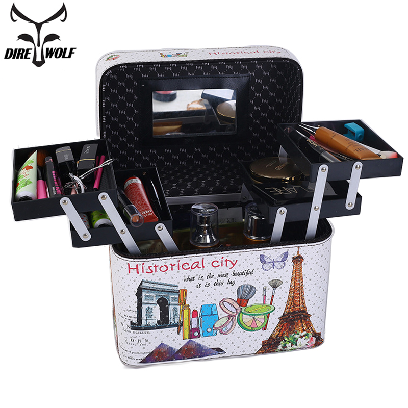 New Women Fashion Cosmetic Bag Makeup Bag neceser Travel Organizer Professional Make Up Box Large Capacity Storage Bags Suitcase new arrival large make up organizer storage box cosmetic organizer suitcase women makeup box container travel cosmetic bag cases