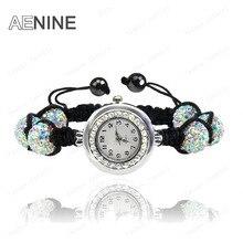 AENINE Мода часы ювелирные изделия 10 мм AB Клей дискотечный шар хрустальные бусины Браслеты часы браслеты украшения для Для женщин смесь цветов SHBR11