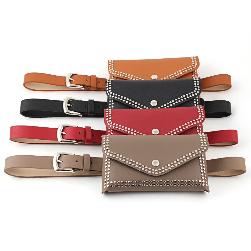 Women Waist Bag Fashion High Quality Pu Leather Phone Purse Solid Color Rivet Messenger Fanny Pack Ladies Waist Pack Belly Bag