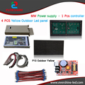 P10 реклама светодиодный дисплей доска с 4 шт. p10 желтый светодиодные модули, светодиодный дисплей магниты, мощность, рамка, плата управления и т. д. diy комплекты