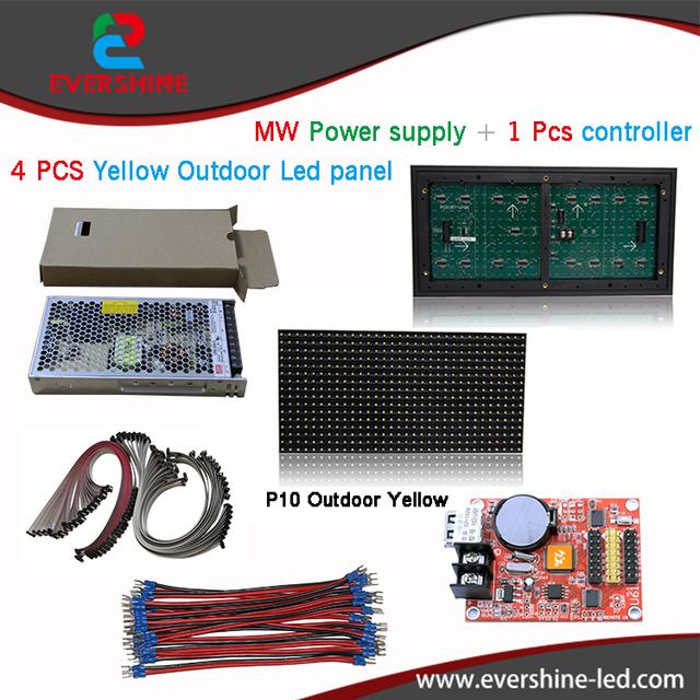 P10 publicidade levou placa de exposição com 4 pcs p10 módulos led amarelo, display led ímãs, poder, quadro, cartão de controle etc. kits diy