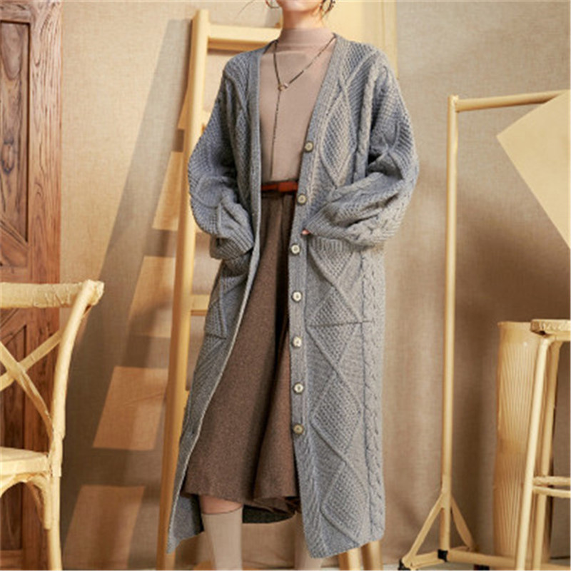 Top Grade 100%hand Made Pure Cashmere Vneck Knit Women Solid Loose Single Breasted H-straight Cardigan Sweater One&over Size