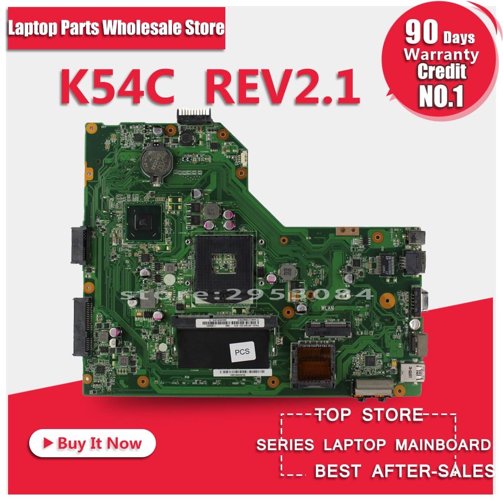 Hot selling For ASUS X54C Laptop Motherboard K54C REV:2.1 HM65 PGA989 USB3.0 DDR3 VRAN 100% fully tested ytai for asus a54ly x54ly x54hy k54hr a54hr k54ly laptop motherboard rev2 1 intel hm65 ddr3 pga989 mainboard 100% working