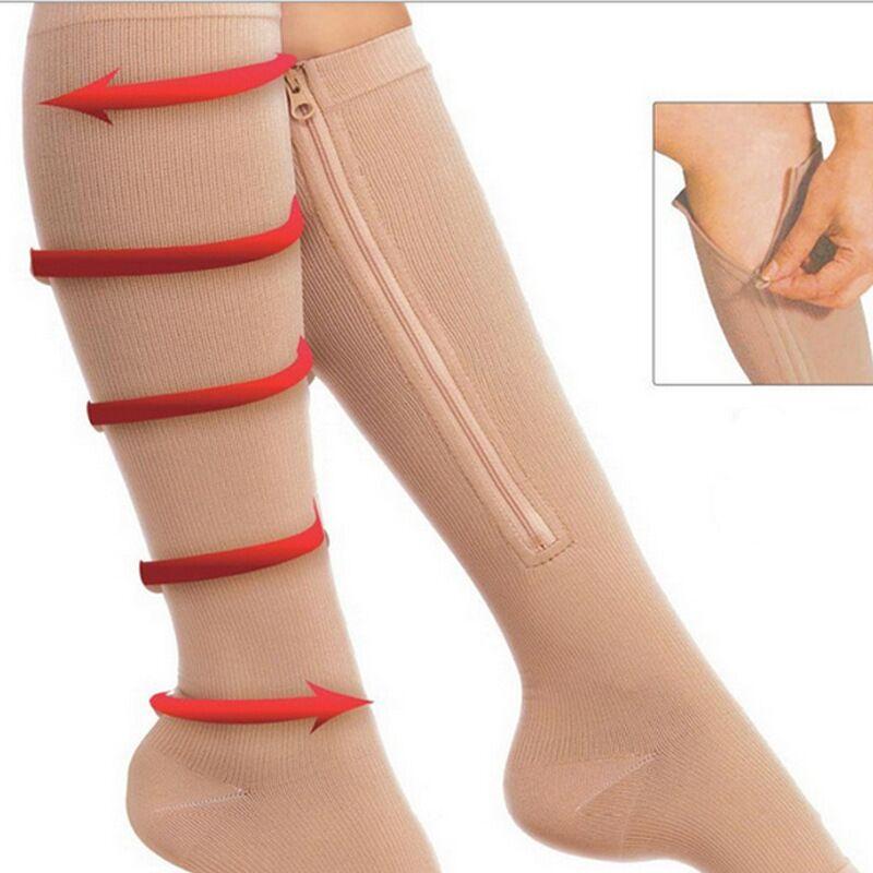 2017 Women Zipper Compression Socks Zip Leg Support Knee Sox Open Toe Sock Thin Leg Burn Fat Leg Support Knee Sox Open Toe Sock