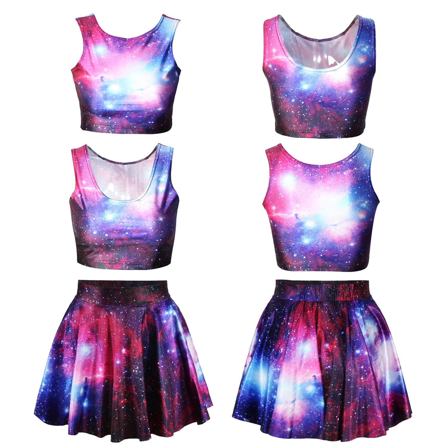3D Galaxy Printed Crop Top And Mini Skirt Set Party Wear Clothing Women Summer Sexy Slim Skirt Vest Top Suit
