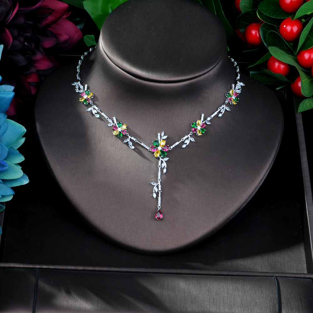 Image 3 - HIBRIDE New Arrival Cubic Zirconia Flower Leaf Necklace Pendant  and Earring 2pcs Set for Women Fashion Jewelry Bijoux femme N 58Jewelry  Sets