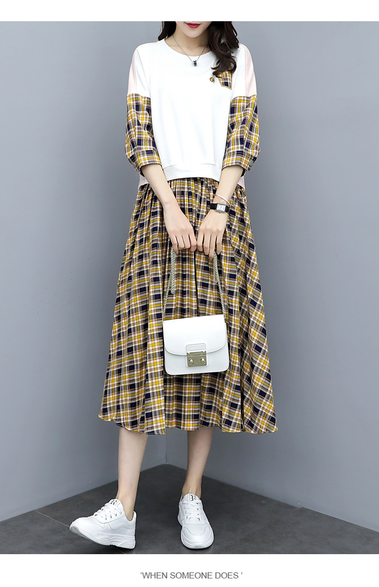 Spring Plaid Two Piece Sets Women Sweatshirt Tops And Pleated Skirt Sets Suits Casual Korean Female Women's Sets Costumes 2019 37