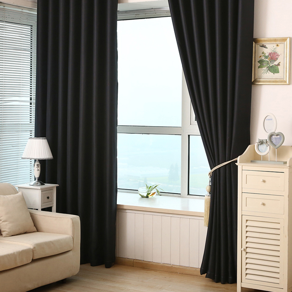 Black curtains bedroom - 2pcs Solid Color Blackout Curtains Bedroom Living Room Curtains Home Decor Window Door Curtains Black Blind