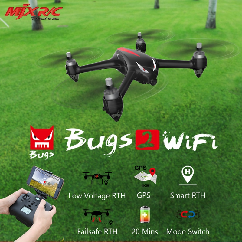 MJX B2W Bugs 2W Monster WiFi FPV Brushless 1080P HD Camera GPS Altitude Hold Black Red RC Quadcopter Drones RTF VS Hubsan H501S original mjx b2w bugs 2w monster outdoor toys rc drone brushless gps rc quadcopter rtf 1080p hd camera wifi fpv vs hubsan h501s