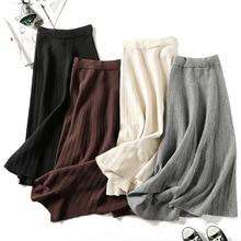 Women knitted long skirt winter warm sweater stripe A-line maxi skirts midi knit female bottoms casual swing skirt autumn black