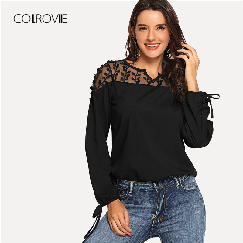COLROVIE Black Bow Detail Cuff Lace Casual   Blouse     Shirt   2018 Autumn V Neck Mesh Streetwear   Blouse   Fashion Women Tops And   Blouses