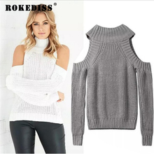Turtleneck Off Shoulder Sweater Women Sexy Pullover Tricot Oversize Jumper Pull Femme Autumn Fashion Knitted Top TG273