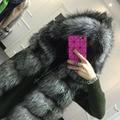 2015 abrigo de invierno silver fox abrigo de pieles con capucha chaleco de la raya medio largo chaleco mujer gran tamaño