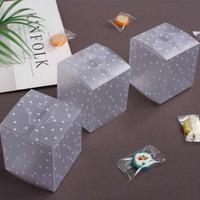10pcs PVC Candy Packaging Box Square Transparent Cake Box Dot DIY Plastic Packaging Box Wedding Party Decorations