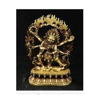 collecting OLD copper Elaborate Old crafts Brass Exquisite Buddhist Vajra 6 Arms Mahakala Buddha Statue ,for Protect Pray