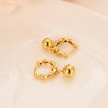 Encantador oro corazón perlas pendiente de gota en forma de corazón pendientes encantos de joyas de oro de brincos vintage de mujer Navidad madre regalo de los niños