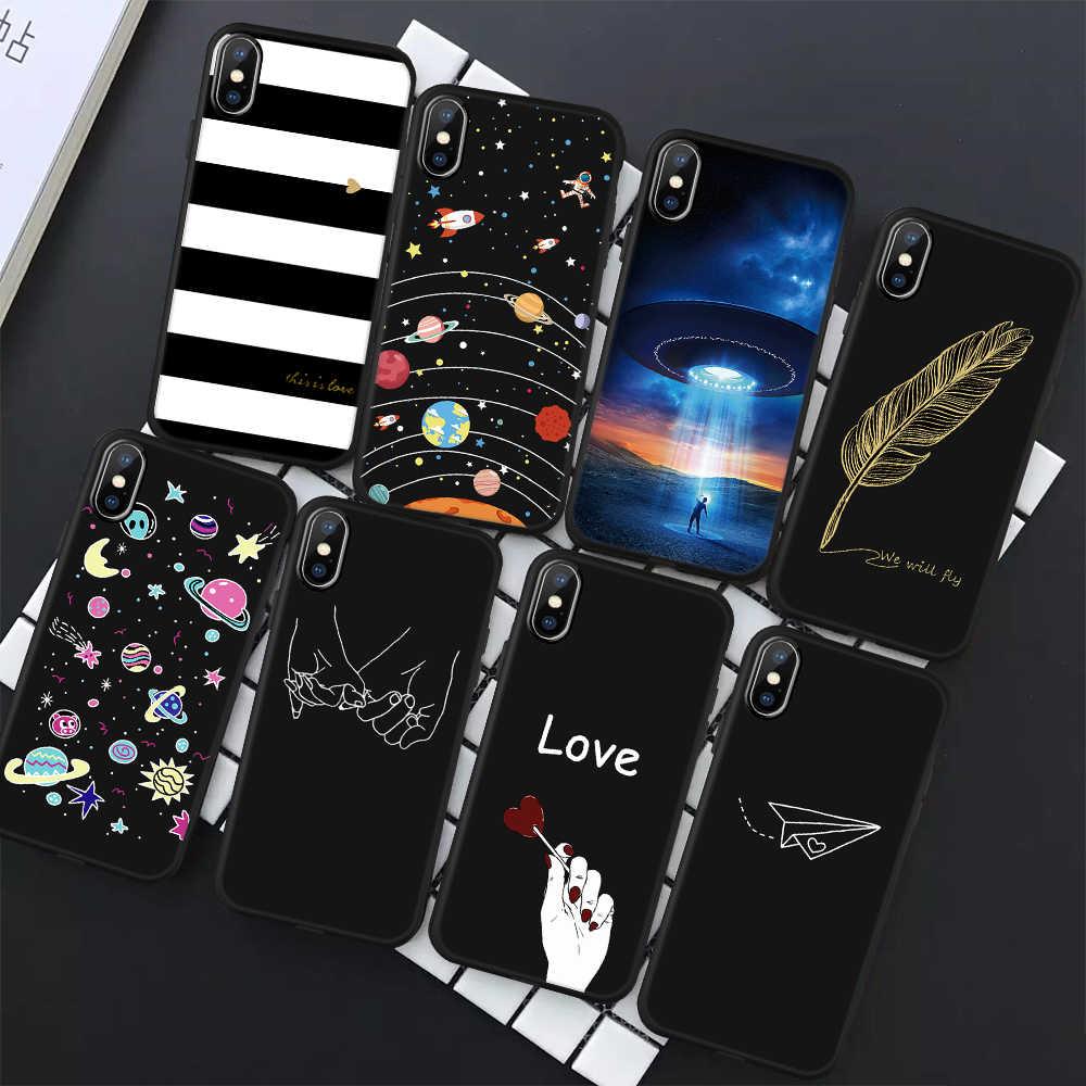 TPU souple Imprimée En Silicone Housse Pour iPhone 6 6s 7 8 Plus X XR XS MAX Mince Coque De Protection Pour iPhone 5 5s SE Cas