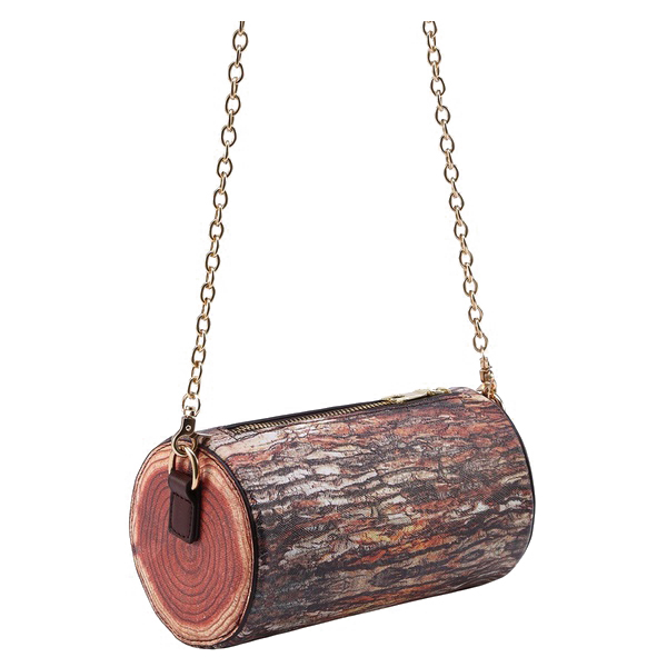 TFTP-Brown Tree Stump Shaped Chain Bag (Color: Brown Cross section) цена 2017